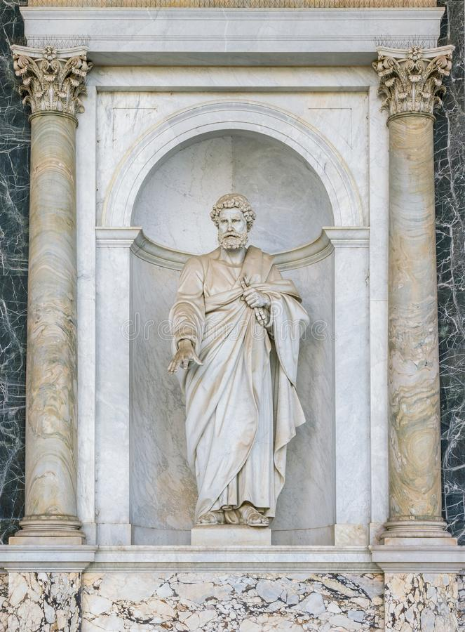 Saint Peter statue in the porch of the Basilica of Saint Paul Outside the Walls. Rome, Italy. The Papal Basilica of St. Paul Outside the Walls, commonly known stock images