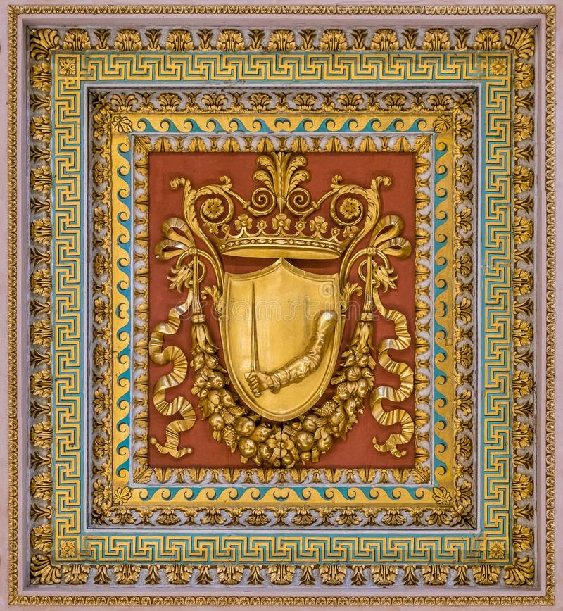 Coat of arms from the ceiling of the Basilica of Saint Paul Outside the Walls, in Rome. The Papal Basilica of St. Paul Outside the Walls, commonly known as St royalty free stock image