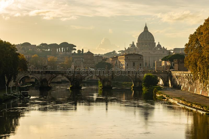 The Papal Basilica of St. Peter Basilica Papale di San Pietro in Vaticano or St. Peter`s Basilica, in Vatican City, Rome. The Papal Basilica of St. Peter royalty free stock photography