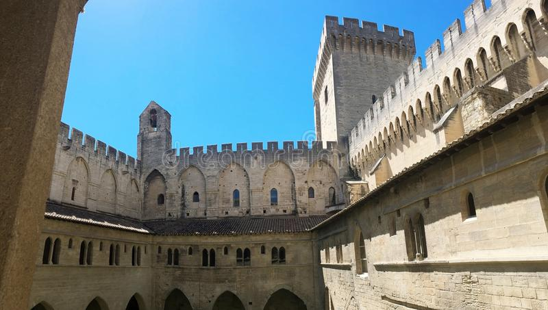 Papal palace is a historical palace located in Avignon, southern France. It is one of the largest and most important medieval Goth royalty free stock photography