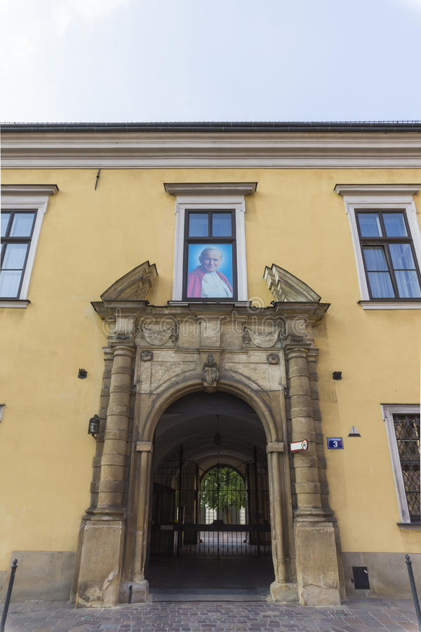 Papal window in Krakow stock image