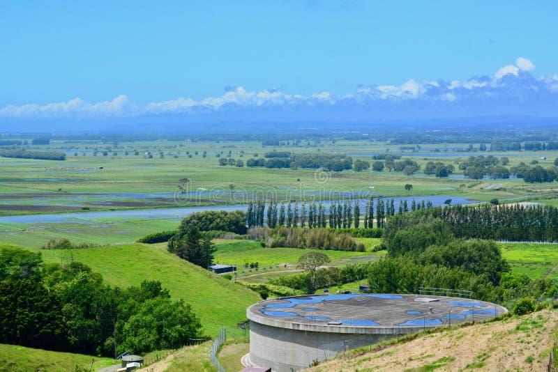 """Papamoa wzgórzy regionalności park, Papamoa, Nowa Zelandia †""""25 2018 Dec: pola zalewający po ulewnego deszczu nad poprzednimi d fotografia royalty free"""
