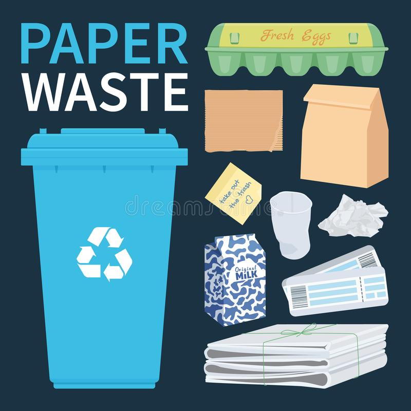 Papar and cardboard waste for recycling royalty free illustration