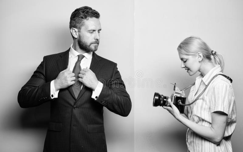 Paparazzi concept. Photosession for business magazine. Handsome businessman posing camera. Nice shot. Fame and success. Businessman enjoy star moment stock photography