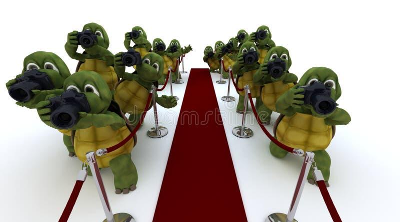 Paparazzi da tartaruga no tapete vermelho ilustração do vetor