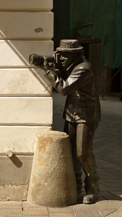 Paparazzi della statua del fotografo fotografie stock