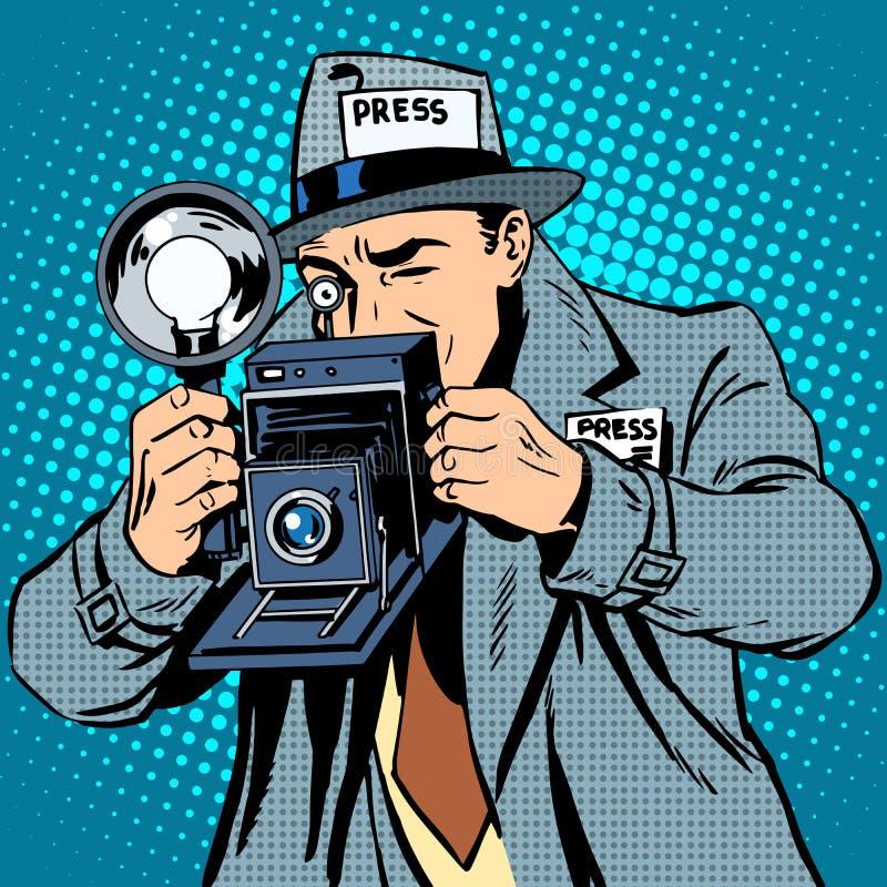 Paparazzi do fotógrafo na câmera dos meios da imprensa do trabalho ilustração royalty free