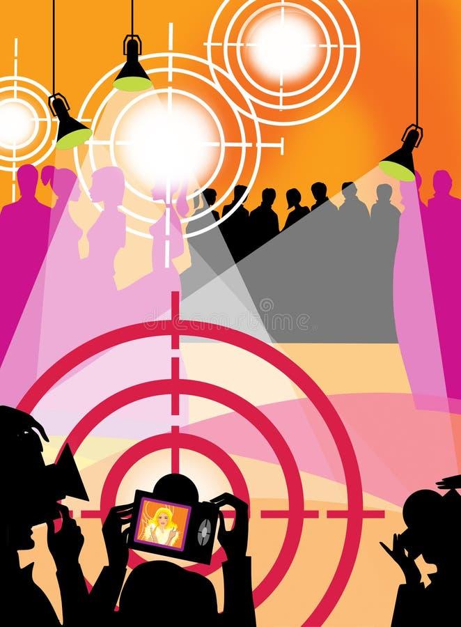 Paparazzi e fotógrafo em um partido Uma multidão de povos sob a luz dos intradorsos e uma vista do equipamento fotográfico ilustração stock