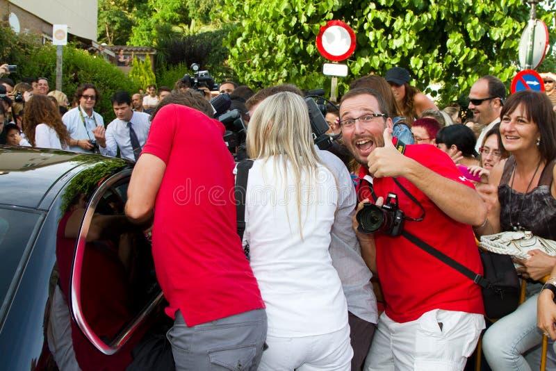 Paparazzi harassment royalty free stock photo