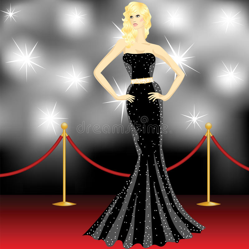 Paparazzi on the red carpet. Famous beautiful elegant woman posing in front of the paparazzi on the red carpet stock illustration