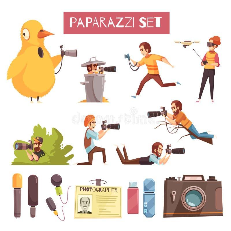 Paparazzifotograf Cartoon Icons Set royaltyfri illustrationer