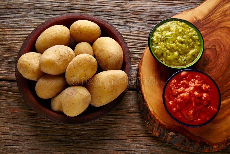Papas al mojo Canary islands wrinkled potatoes royalty free stock photo