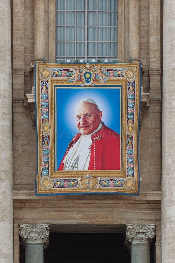 Papas John XXIII y Juan Pablo II que se canonizarán fotos de archivo libres de regalías