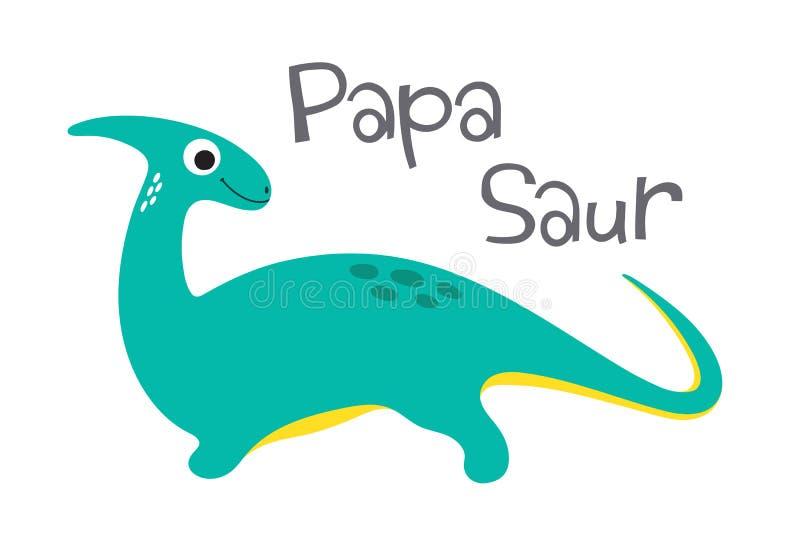 PapaSaur gullig dinosaur vektor illustrationer