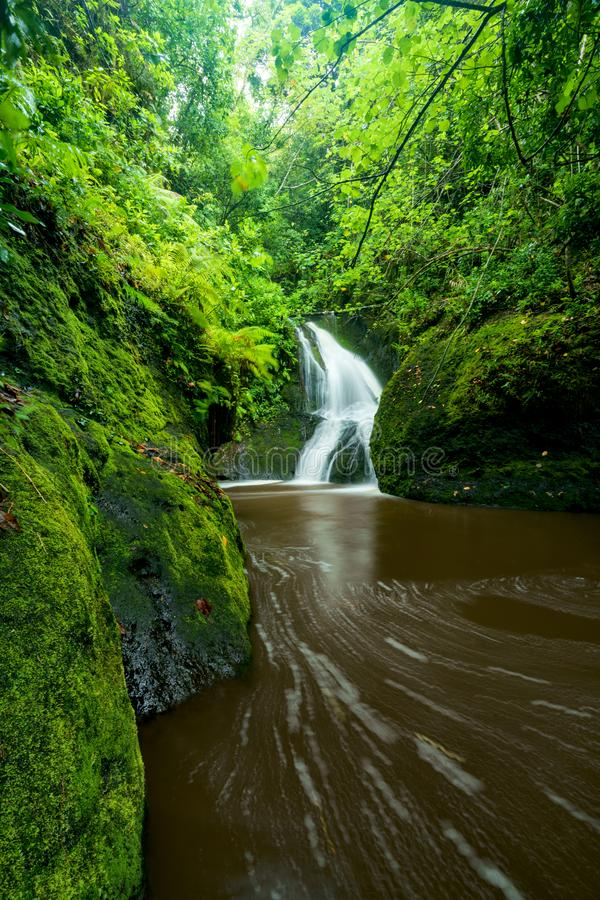 Papau Wigmore`s waterfall in the Cook Islands royalty free stock photography