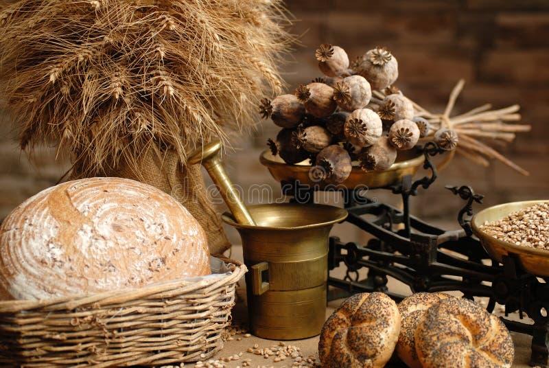 Papaver en brood stock afbeeldingen