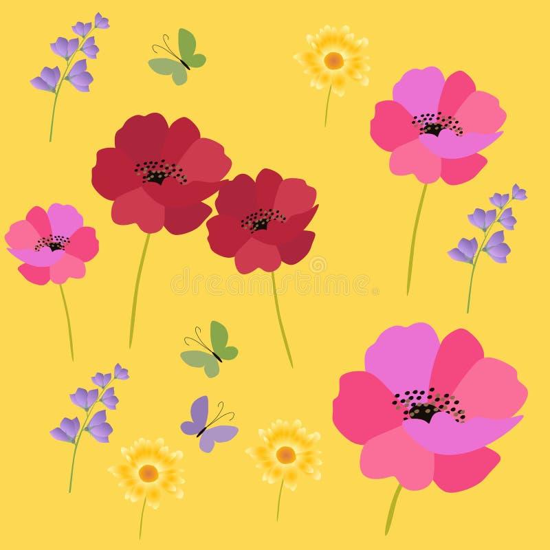 Papaveri, fiori di campana e tagete isolati su fondo giallo Modello senza fine del prato di estate Carta quadrata Disegno di vett royalty illustrazione gratis