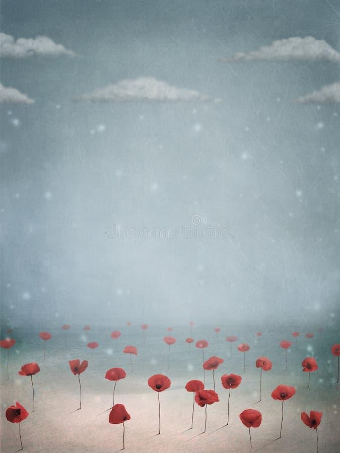 Papaveri nella neve royalty illustrazione gratis