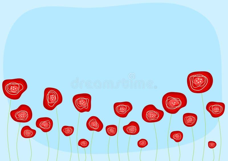 Papaveri rossi con il cielo illustrazione di stock