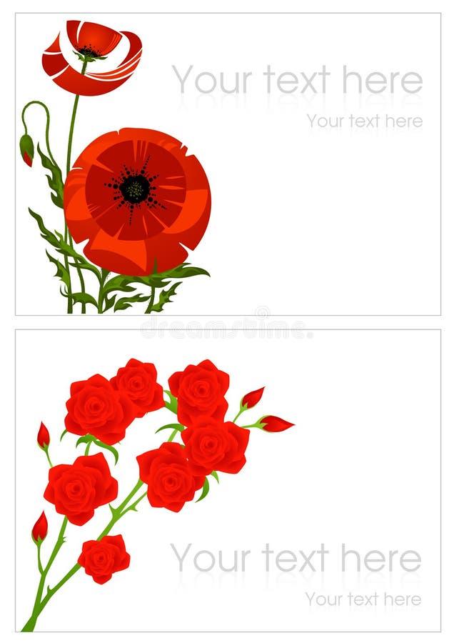 Papavero e cartoline d'auguri di rosa royalty illustrazione gratis