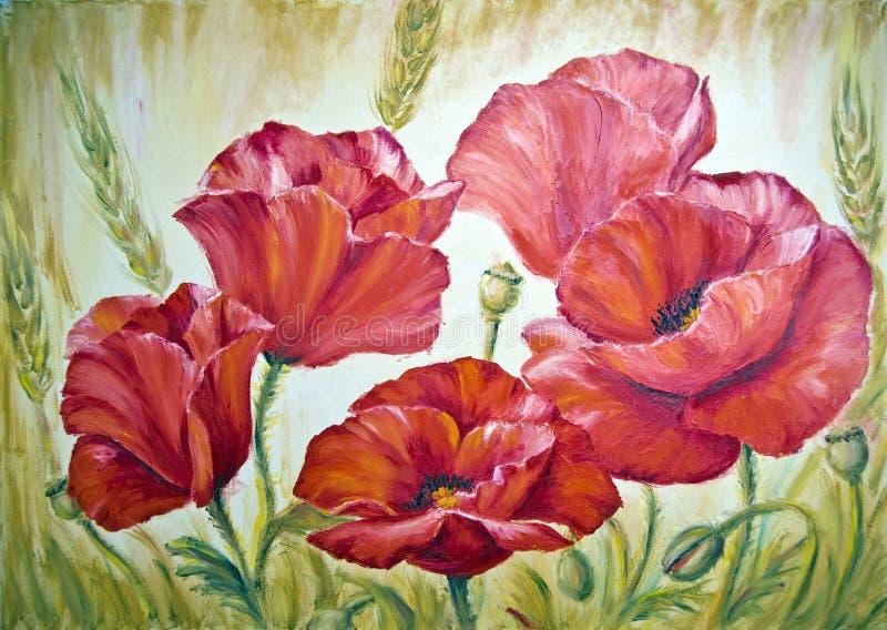 Papavers, olieverfschilderij op canvas stock illustratie