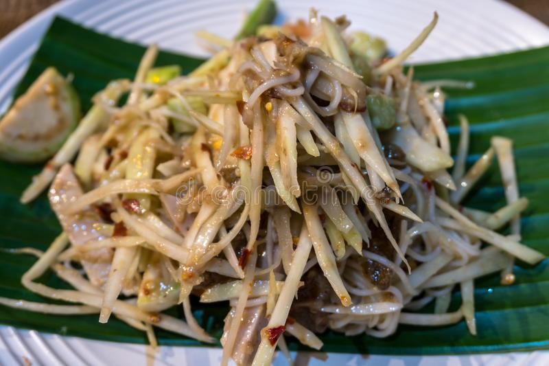 Papaya πικάντικη σαλάτα διασημότερη των ταϊλανδικών τροφίμων στοκ φωτογραφία με δικαίωμα ελεύθερης χρήσης