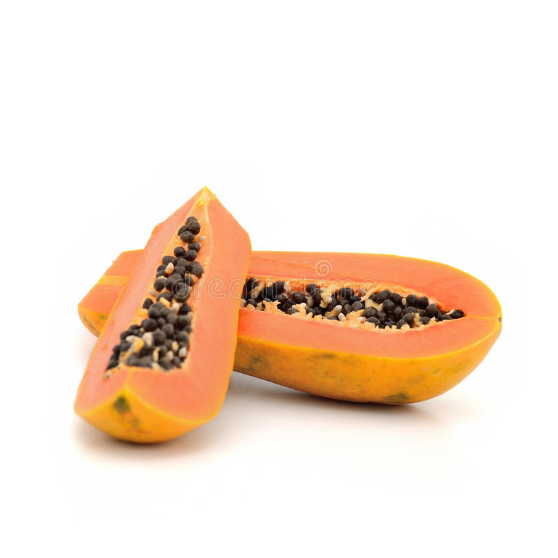 Papaya το σκίσιμο απομονώνει στο άσπρο υπόβαθρο στοκ φωτογραφίες