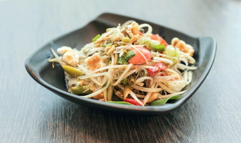 Papaya τρόφιμα ή όνομα σαλάτας ταϊλανδικά παραδοσιακά σε ταϊλανδικό Somtum στοκ φωτογραφία