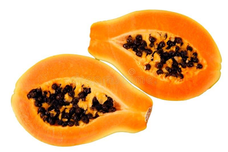 Papaya. Halves of papaya. Tropical fruit stock image