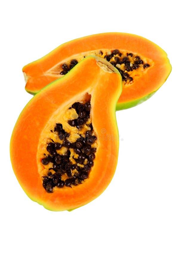 Papaya. Halves of papaya. Tropical fruit royalty free stock images