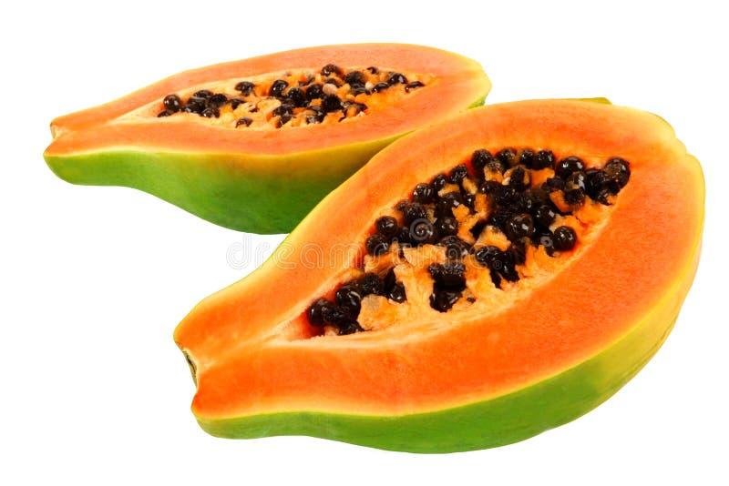 Papaya. Halves of papaya. Tropical fruit royalty free stock photo