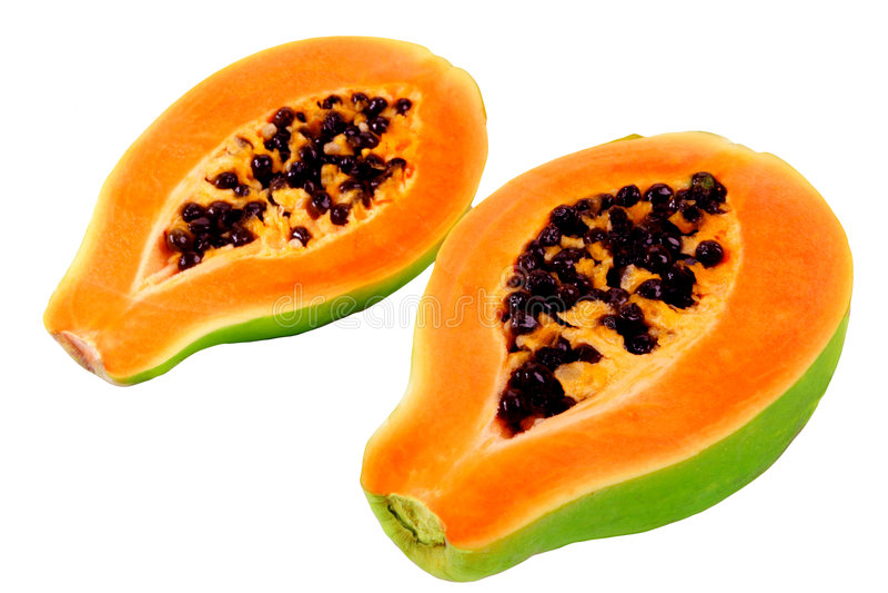 Papaya. Halves of papaya. Tropical fruit stock photos
