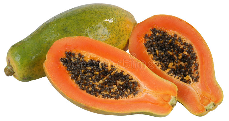 Papaya. Aislado imagen de archivo