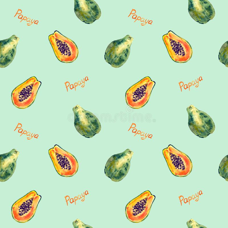 Papaya fruit Carica papaya, half slice with inscription, seamless pattern design, hand painted watercolor illustration royalty free illustration