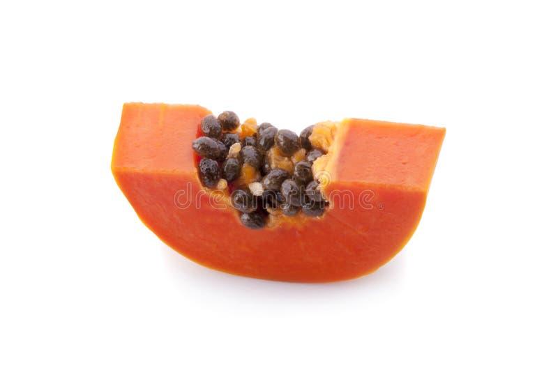Papaya fruit sliced isolated on a white background stock photos