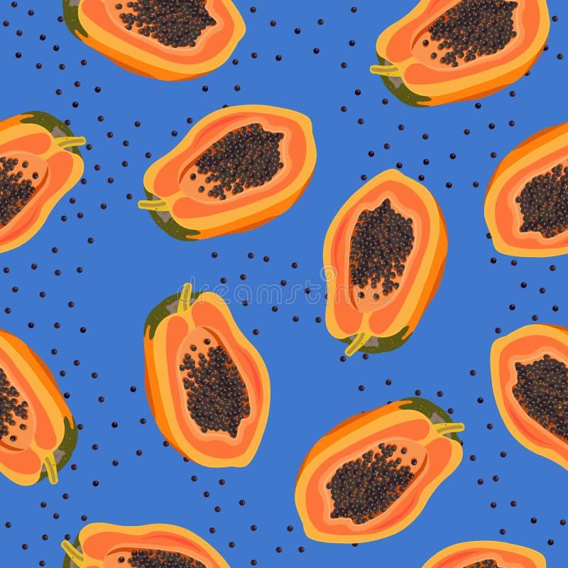 Papaya fruits seamless pattern on blue background, Fresh organic food, Summer pattern background. Tropical fruit vector illustration royalty free illustration