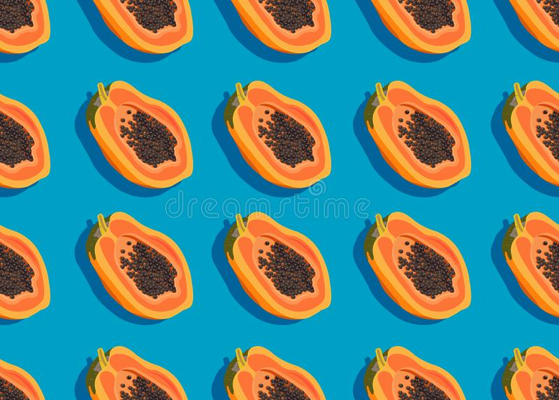 Papaya fruits seamless pattern on blue background with shadow, Fresh organic food, Tropical fruit vector. Illustration royalty free illustration