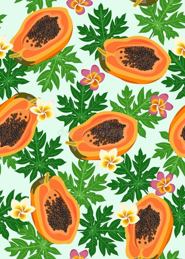 Papaya fruits seamless pattern on pastel blue background with leaves and frangipani flower, Fresh organic food, Tropical. Fruit vector illustration stock illustration