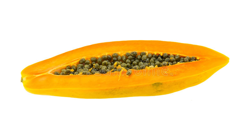 Download Papaya Fuit Cut In Half Isolated Stock Photo - Image: 82628252