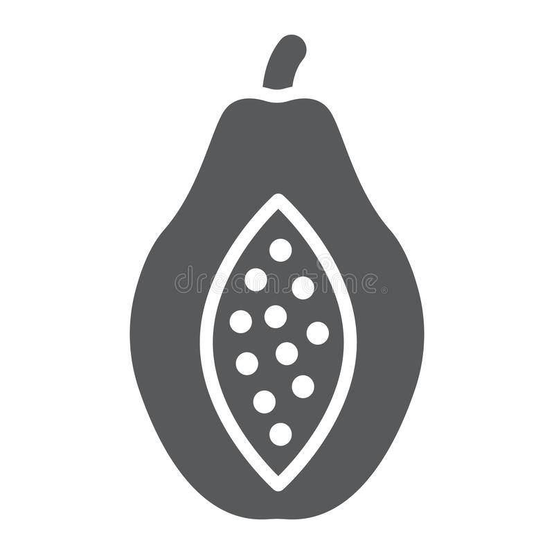 Papaya glyph εικονίδιο, φρούτα και βιταμίνη, σημάδι διατροφής ελεύθερη απεικόνιση δικαιώματος