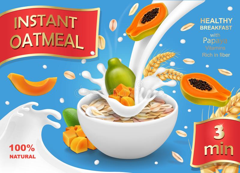 Papaya with oatmeal flakes in milk royalty free illustration
