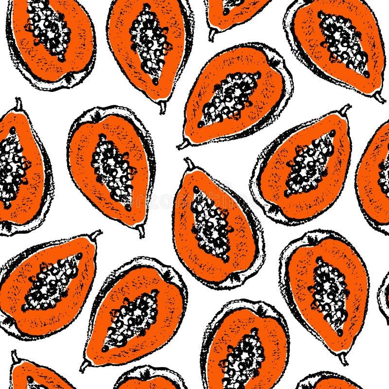 Download Papaya-nahtloses Muster vektor abbildung. Illustration von dekoration - 96931435