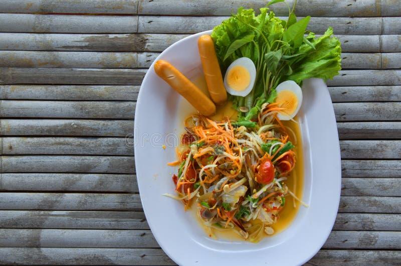 Papaya salad. Papaya salad with blue crab royalty free stock image
