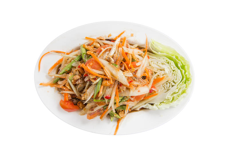 Papaya salad with lettuce,clipping path royalty free stock photography