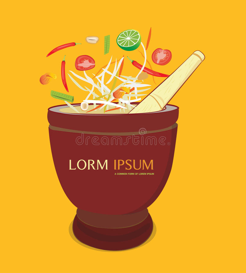 Papaya salad and mortar. Papaya salad with mortar and ingredients on orenge background vector illustration