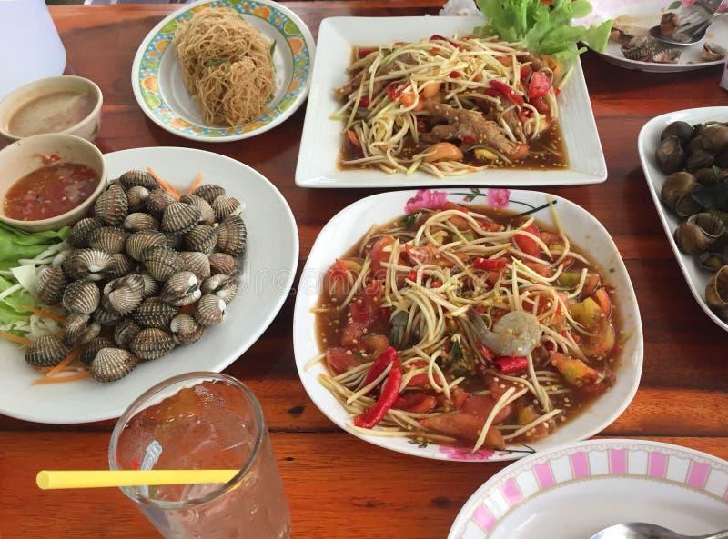 Papaya salad and seafood royalty free stock photo