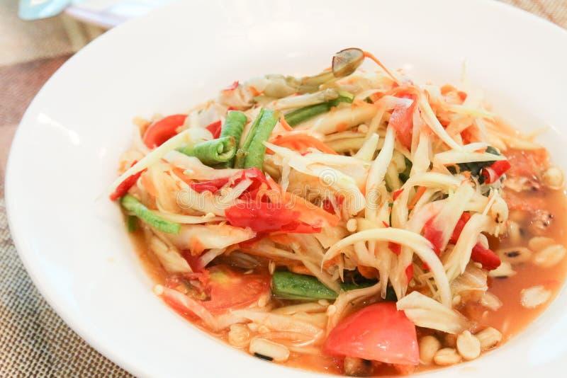 Papaya salad or somtum stock photos