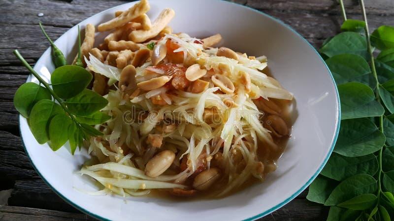 Papaya salad. Spicy dour food snack peanut chilli royalty free stock photos