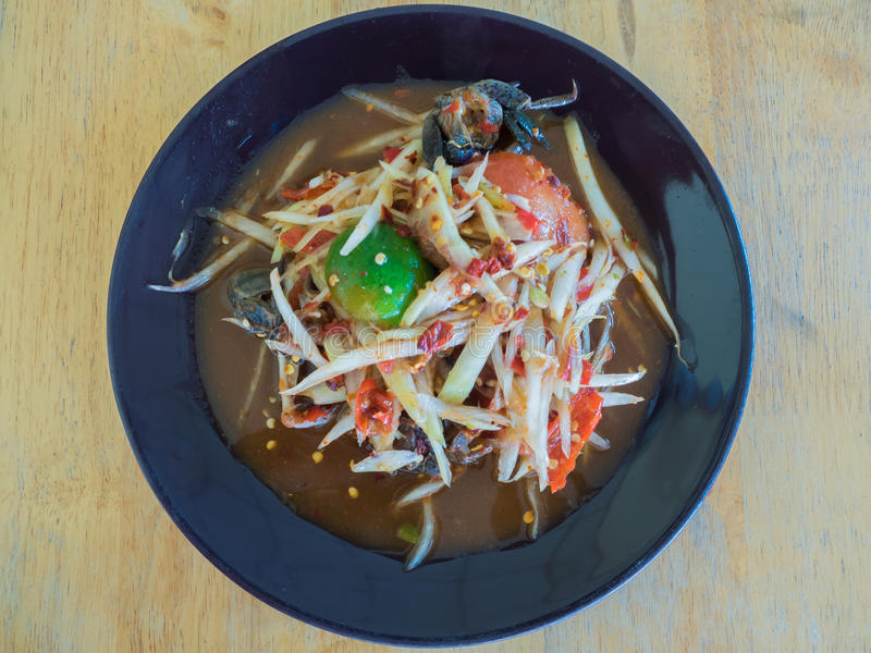 Papaya salad Thai cuisine spicy delicious : stock image