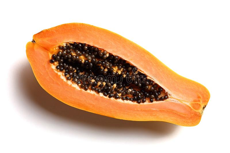 Papayafruchtquerschnitt stockfotografie
